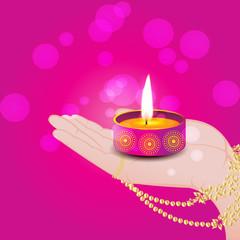 Diwali Diya in Hand