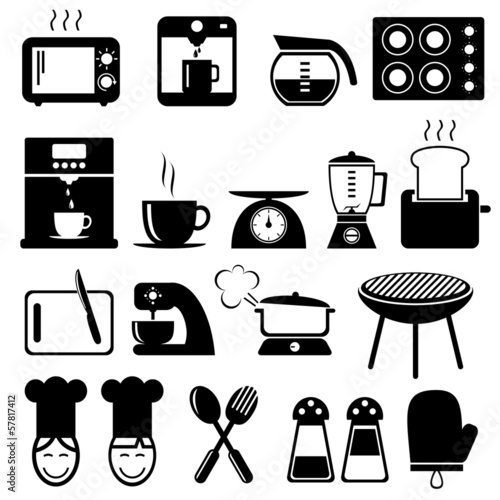set of kitchen icons for web, vector format