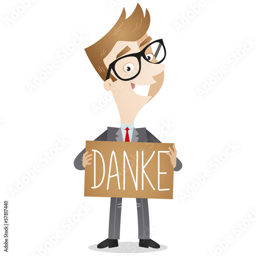 Businessman, Schild, Danke