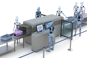 Robots having their luggage scanned