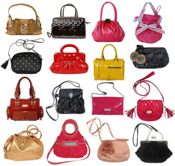 collection of women's handbags isolated on white