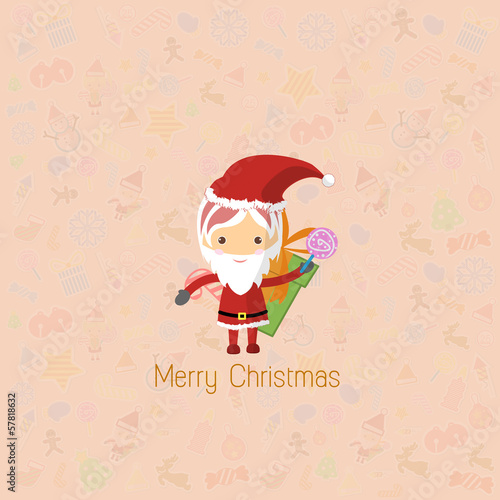 Vector Santa Girl Claus. Vector illustration for christmas card.