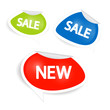 Vector sale and discount icons in green, blue and red colours
