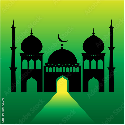 mosque on green  background with light ray from the door.