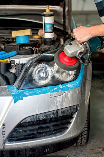 Car Care with Car headlight cleaning with power buffer machine