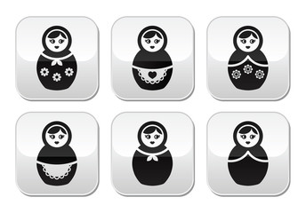Russian doll, retro matrioshka vector buttons set