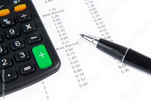 receipt calculator and pen