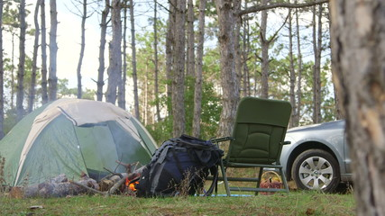 Traveling by car, camping in the woods