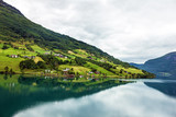 Norway, natural landscape. Village houses