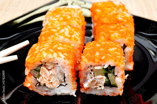 Japanese rolls with masago caviar, cheese and cucumber © Pavel Mastepanov