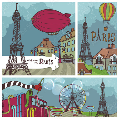 Vintage Banners with Views of Paris