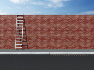 Ladder on Brick Wall with beautiful sky behind