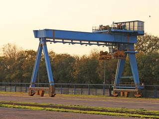 Blue Gantry Crane