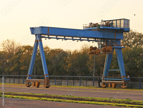 Blue Gantry Crane