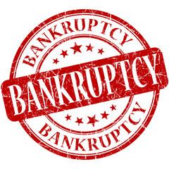 Bankruptcy grunge red round vintage scratched stamp