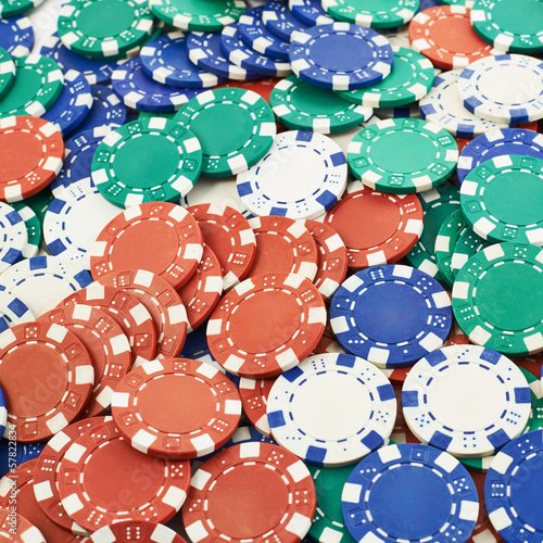 Surface covered with casino chips