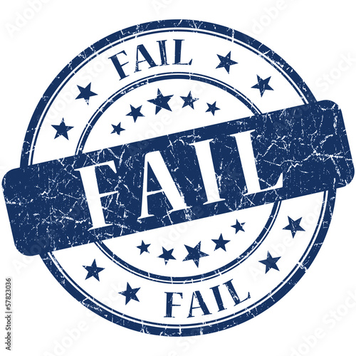Fail grunge blue round vintage rubber stamp