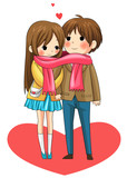 Cute couple sharing their warmth in winter (vector) poster
