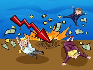 Crash of economic downturn, kill all businesspeople (vector)