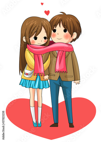 Cute couple sharing their warmth in winter (vector)