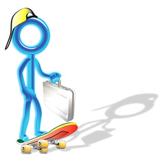 Glowing Skateboard Stick Man