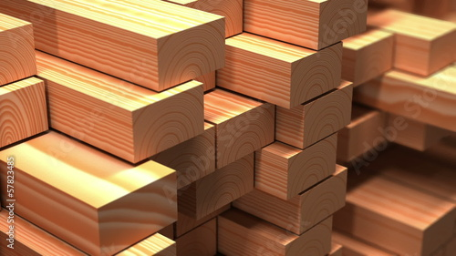 Wood beams in warehouse. 3d animation