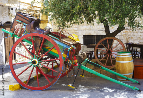 old farmer towing wooden horse-drawn countryside of Apulia