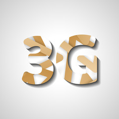3G abstract symbol, style illustration