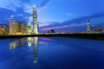 City downtown in Hong Kong at night