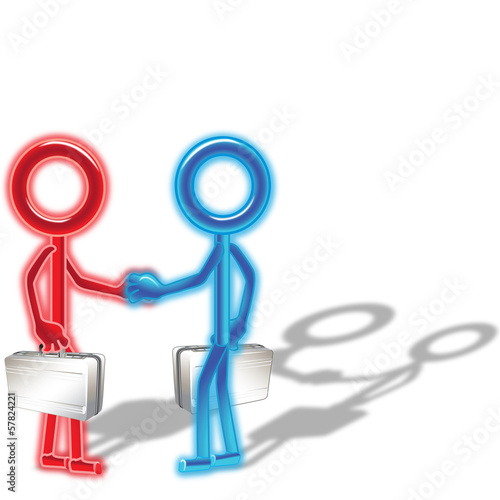 Red and Blue Stick Men Shaking Hands