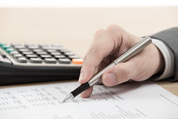 Financial report with calculator