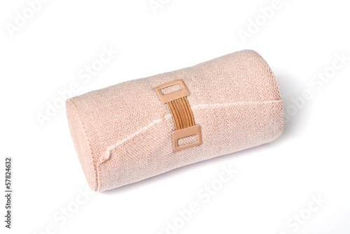 medical elastic bandage with reflection on white background