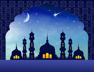 Silhouette of mosques in the moon night