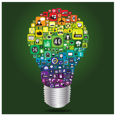 Light bulb with business and social media icon infographics