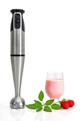 Strawberry milkshake and blender