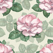 Watercolor seamless pattern with rose illustration