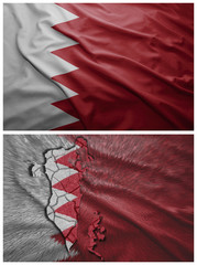 Bahrain flag and map collage