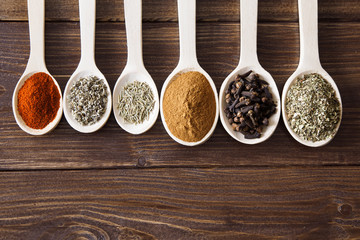 Spice assortment on a wooden table