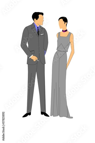 vintage couple in formal attire