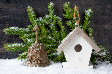 Christmas tree Decorations: birdhouse and the bell
