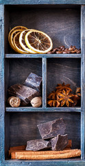 Chocolate, Star anise, nutmeg, cinnamon and coffee beans