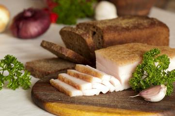 Sliced salted pork lard (salo, traditional Ukrainian cuisine)