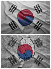 South Korea flag and map collage