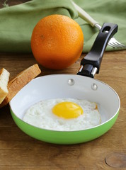 Fried egg in a frying pan - useful and healthy breakfast