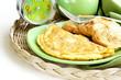 fresh egg omelet with basil for breakfast