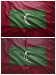 Maldives flag and map collage