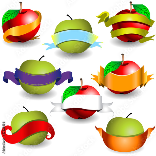 apples with ribbon banners