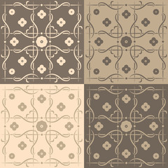 Beige and brown square tiles