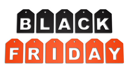 render of Black Friday, isolated on white
