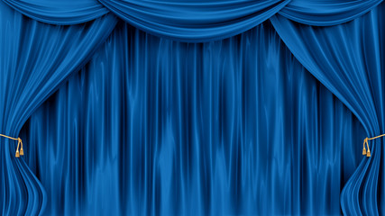 render of blue curtains, isolated on white